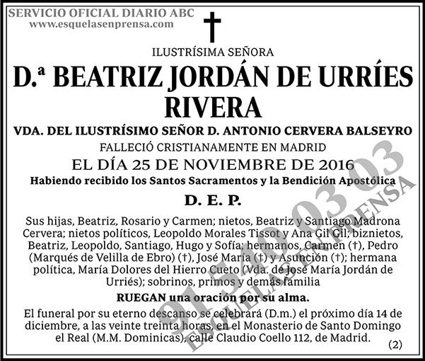 Beatriz Jordán de Urríes Rivera